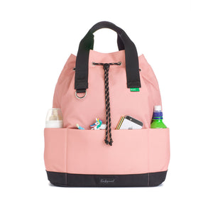 Babymel Changing bag backpack, top 'n' tail eco rose, recycled material,  drawstring rucksack, front view With baby items in pockets