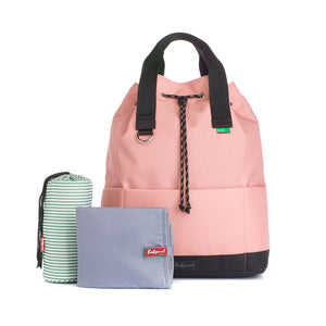 Babymel Changing bag backpack, top 'n' tail eco rose, recycled material,  drawstring rucksack, front view with changing mat and insulated bottle pocket