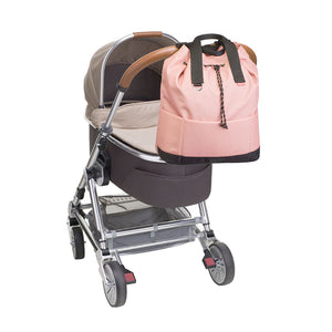 Babymel Changing bag backpack, top 'n' tail eco rose, recycled material,  drawstring rucksack, bag attached to pram