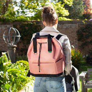 Babymel Changing bag backpack, top 'n' tail eco rose, recycled material,  drawstring rucksack, mum wearing bag