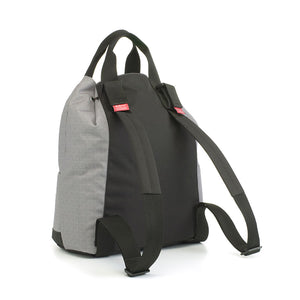 Babymel Changing bag backpack, top 'n' tail eco grey, recycled material,  drawstring rucksack, back view showing stroller straps