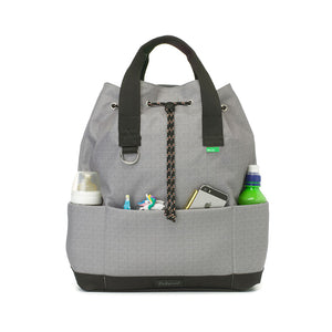 Babymel Changing bag backpack, top 'n' tail eco grey, recycled material,  drawstring rucksack, front view with baby items in pocket