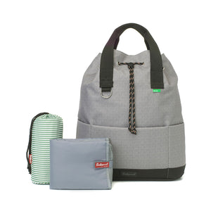 Babymel Changing bag backpack, top 'n' tail eco grey, recycled material,  drawstring rucksack, front view with changing mat and bottle holder
