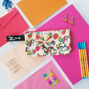 Zip and Zoe by Babymel pencil case unicorn, with notepad, pens and stationery | pencil case | school pencil case | pencil case for boys | pencil case for girls