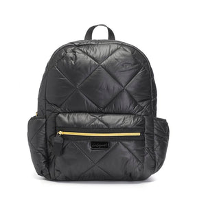Babymel changing bag, Luna Quilt Black, front view, black quilted backpack, rucksack baby bag