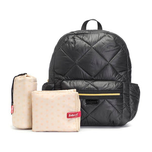 Babymel changing bag, Luna Quilt Black, front view + changing mat + bottle holder, black quilted backpack, rucksack baby bag