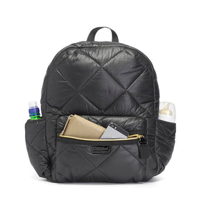 Babymel changing bag, Luna Quilt Black, front view with items in pockets, black quilted backpack, rucksack baby bag