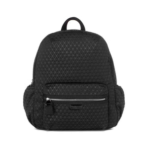 Babymel changing bag, Luna Scuba Black ultra-lite, front view, black neoprene backpack, rucksack baby bag