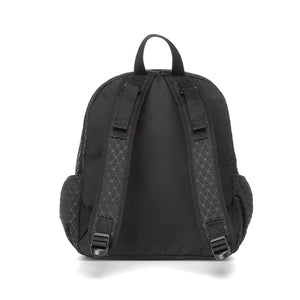 Babymel changing bag, Luna Scuba Black ultra-lite, back view, black neoprene backpack, rucksack baby bag