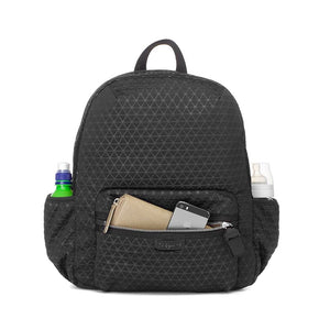 Babymel changing bag, Luna Scuba Black ultra-lite, front view with filled pcokets, black neoprene backpack, rucksack baby bag