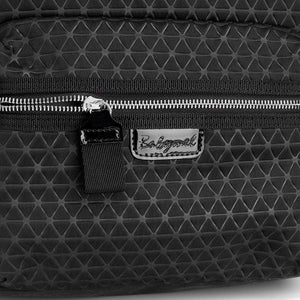 Babymel changing bag, Luna Scuba Black ultra-lite, close up , black neoprene backpack, rucksack baby bag