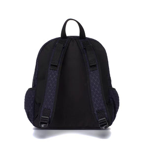 Babymel changing bag, Luna Scuba navy ultra-lite, back view, navy neoprene backpack, rucksack baby bag