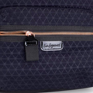 Babymel changing bag, Luna Scuba navy ultra-lite, close up view, navy neoprene backpack, rucksack baby bag