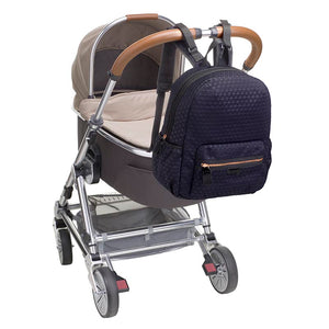 Babymel changing bag, Luna Scuba navy ultra-lite, bag attached to pram, navy neoprene backpack, rucksack baby bag