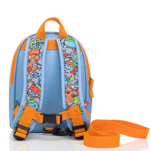 Zip and Zoe by Babymel mini backpack & safety harness-reins robot blue, back view with reins attached | toddler backpack with reins | toddler rucksack | boys backpack | backpacks for girls | kids school bags | kids backpacks