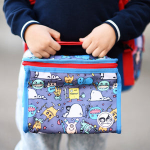 Zip and Zoe by Babymel zipped lunchie and ice pack monster, close up of boy holding lunch bag | lunch bag | boys lunch bag | girls lunch bag | ice pack