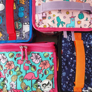 Zip and Zoe by Babymel zipped lunchie and ice pack flamingo, group shot of flamingo, spaceman, monster and llama lunch bags | lunch bag | boys lunch bag | girls lunch bag | ice pack