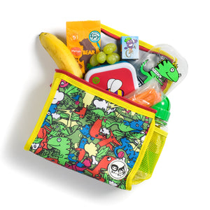 Zip and Zoe by Babymel zipped lunchie and ice pack dino multi, laying down with snacks spilling out | lunch bag | boys lunch bag | girls lunch bag | ice pack