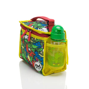 Zip and Zoe by Babymel zipped lunchie and ice pack dino multi, side view with water bottle  | lunch bag | boys lunch bag | girls lunch bag | ice pack
