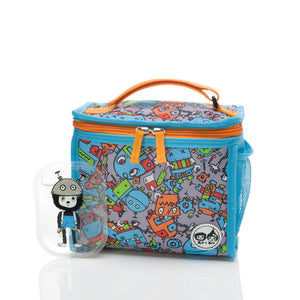 Zip and Zoe by Babymel zipped lunchie and ice pack robot blue, front view with Zip with tools ice pack | lunch bag | boys lunch bag | girls lunch bag