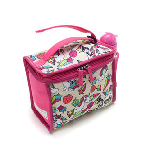 Zip and Zoe by Babymel zipped lunchie and ice pack unicorn, side view with grab handle velcro open | lunch bag | girls lunch bag | ice pack
