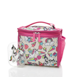 Zip and Zoe by Babymel zipped lunchie and ice pack unicorn, front view with Zoe unicorn ice pack | lunch bag | girls lunch bag