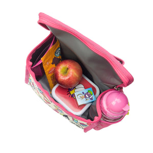 Zip and Zoe by Babymel zipped lunchie and ice pack unicorn, internal view filled with snacks and water bottle in side pocket | lunch bag | girls lunch bag | ice pack
