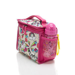 Zip and Zoe by Babymel zipped lunchie and ice pack unicorn, side view with water bottle  | lunch bag | girls lunch bag | ice pack