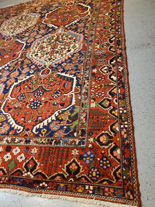 Hand-Knotted Persian Garden Carpet Rich saffron with accents of cerulean blue