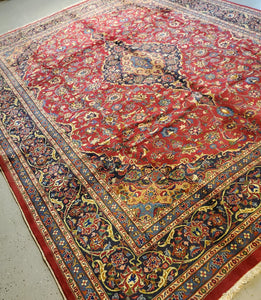 Persian Mashad Carpet, Semi Antique Rug Circa 1950s
