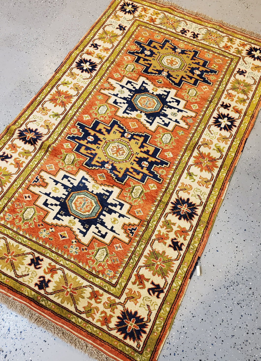 This is a full view of a Turkisk Hand-Knotted Rug