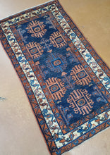 Load image into Gallery viewer, This is a very nice Antique Hamadan Carpet Runner with a Dark Blue Field, the rug has geometric shapes