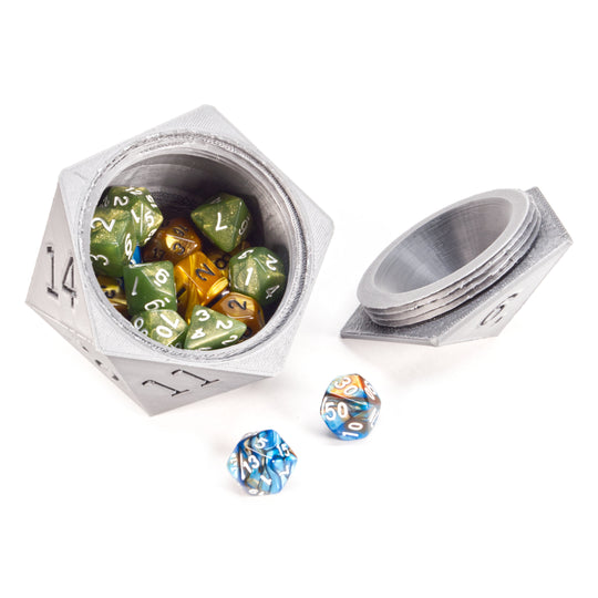 D20 Shaped Dice Container Case with Magnetic Door - 3D Shape Engineering