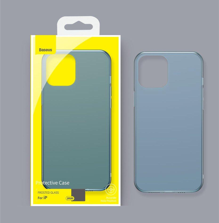 Baseus Frosted Glass Case Hard case with a flexible frame iPhone 12 Pro Max Navy blue (WIAPIPH67N-WS03)-nutielu.ee