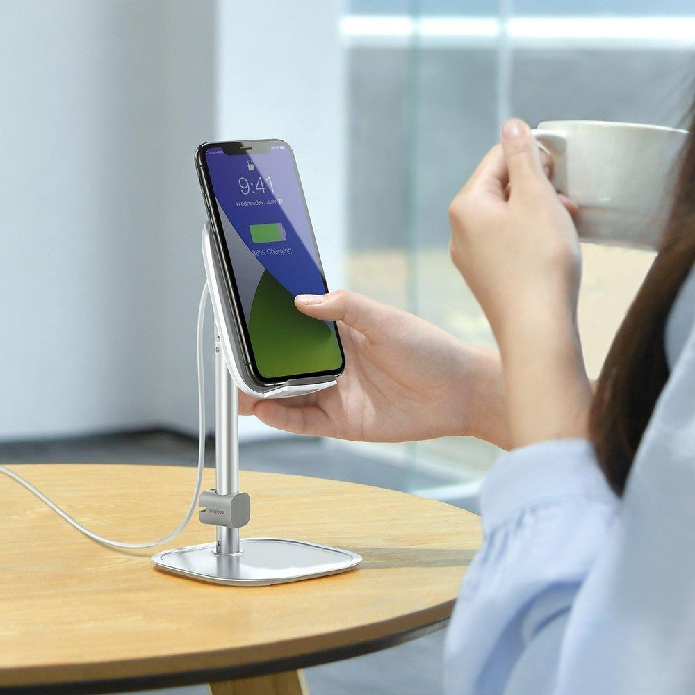 Baseus Telescopic Desktop Bracket phone holder wireless Qi charger 15 W with USB cable silver (SUWY-D0S)-nutielu.ee