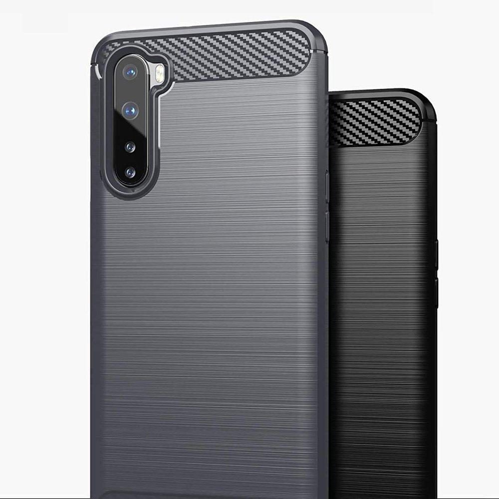 Carbon Case Flexible Cover TPU Case for OnePlus Nord black-nutielu.ee