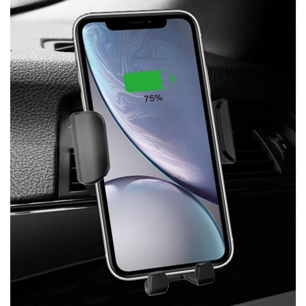 Dudao Gravity Wireless Charger 10W Car Mount Phone Bracket Air Vent Holder Qi Charger Valge (F3Plus Must)-nutielu.ee