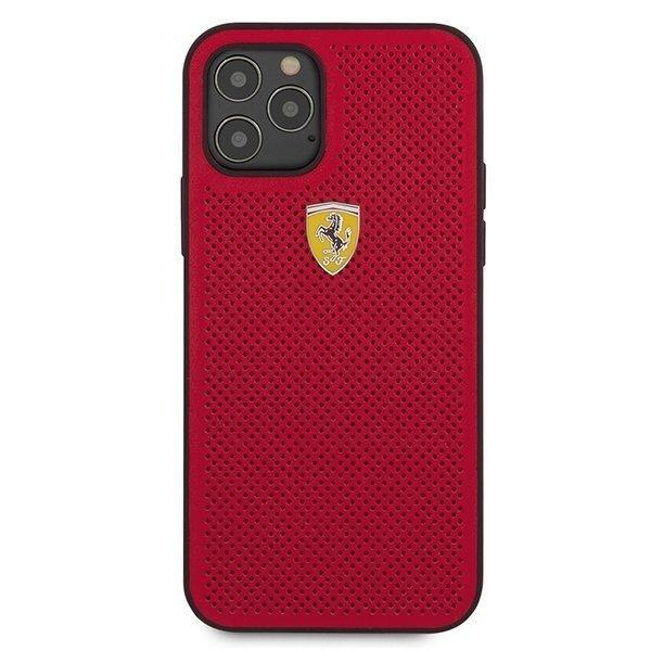 Ferrari FESPEHCP12MRE iPhone 12 Pro / iPhone 12 /red hardcase On Track Perforated-nutielu.ee