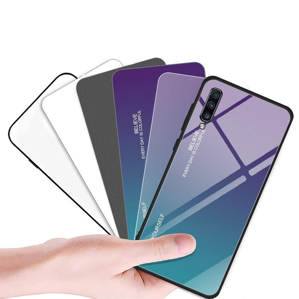 Gradient Glass Durable Cover with Tempered Glass Back Samsung Galaxy A50s / Galaxy A50 / Galaxy A30s green-purple-nutielu.ee