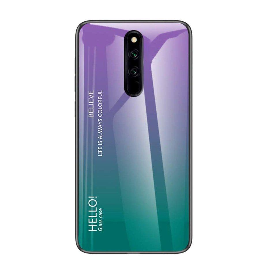 Gradient Glass Durable Cover with Tempered Glass Back Xiaomi Redmi 8 green-purple-nutielu.ee