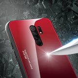 Gradient Glass Durable Cover with Tempered Glass Back Xiaomi Redmi 9 black-red-nutielu.ee