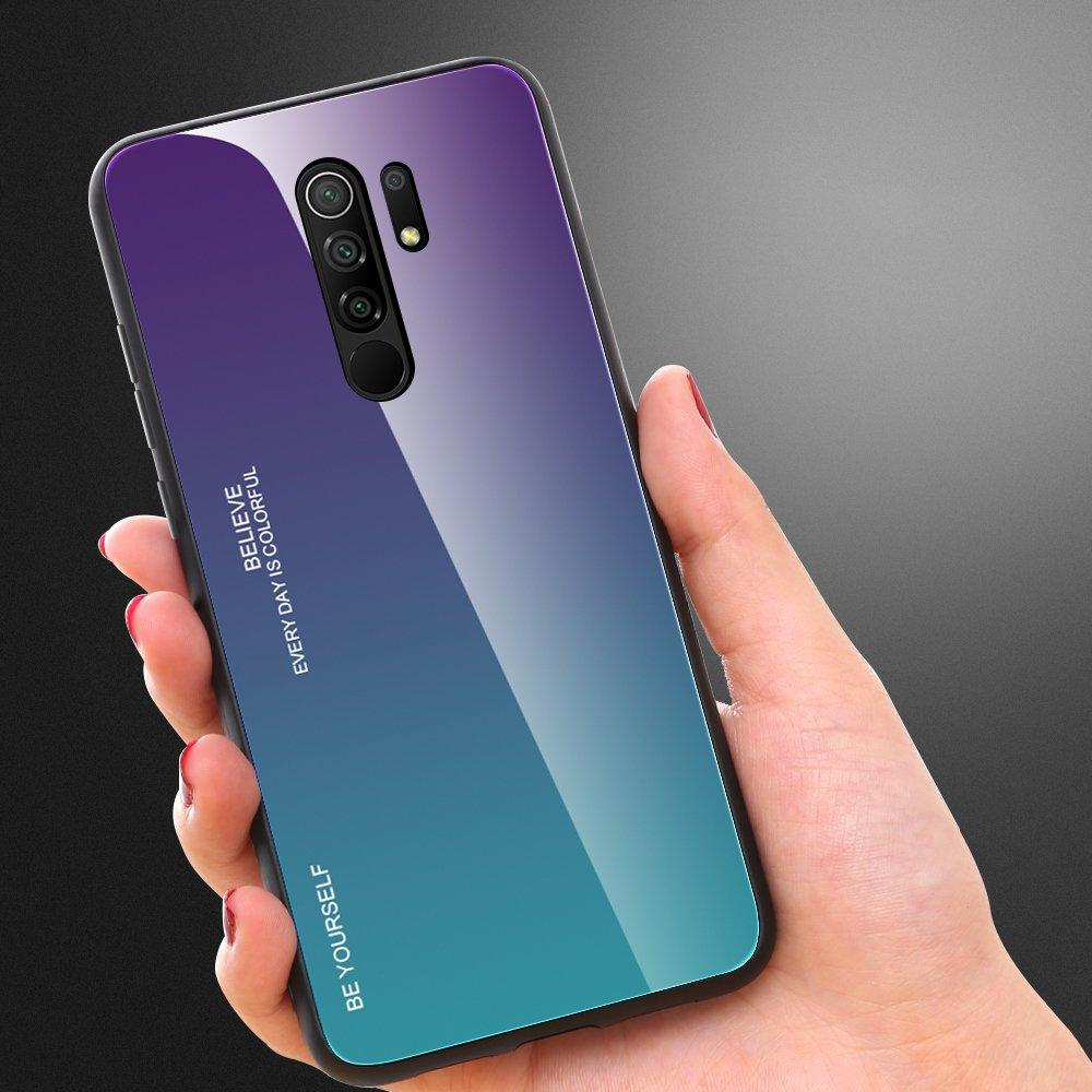 Gradient Glass Durable Cover with Tempered Glass Back Xiaomi Redmi 9 green-purple-nutielu.ee