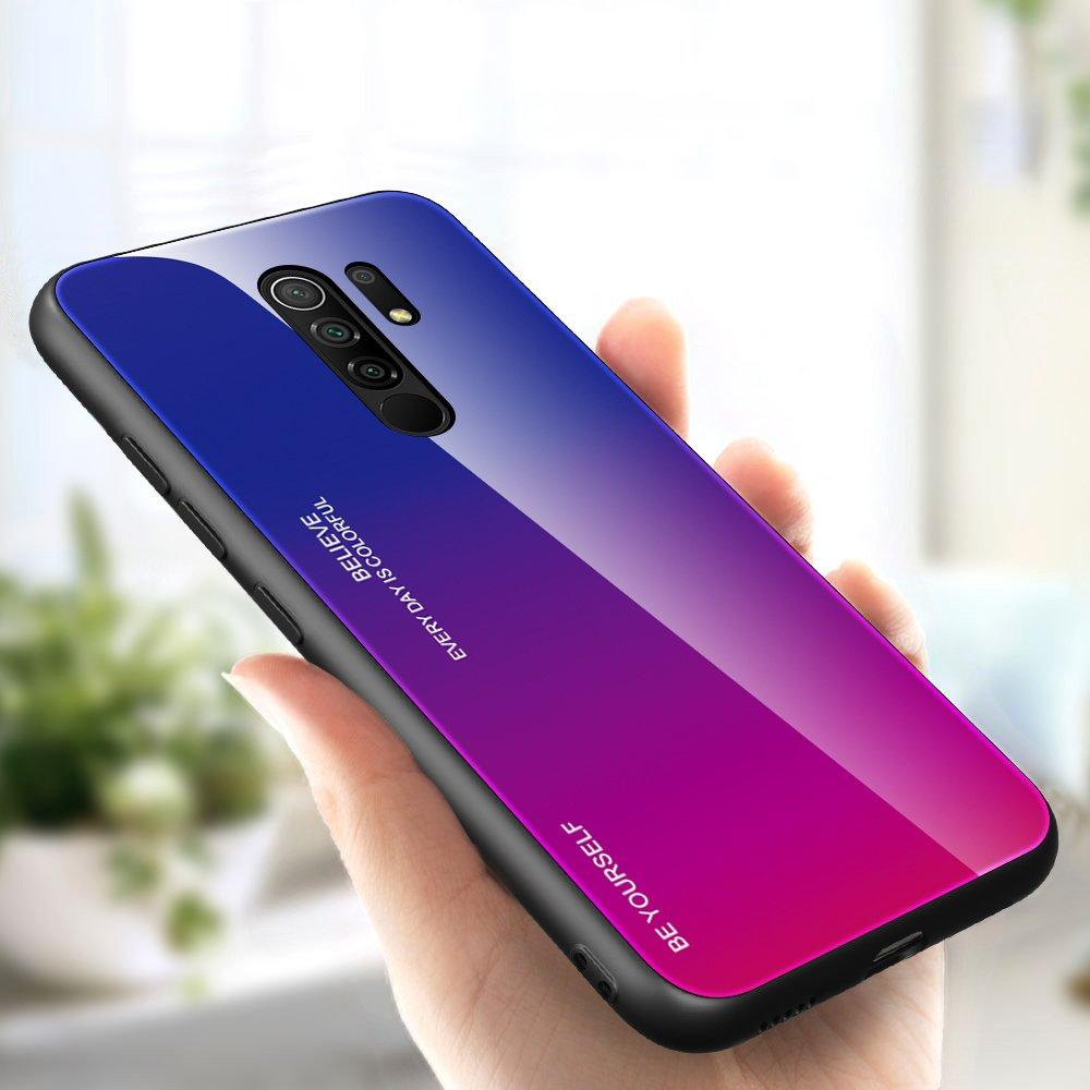Gradient Glass Durable Cover with Tempered Glass Back Xiaomi Redmi 9 pink-purple-nutielu.ee