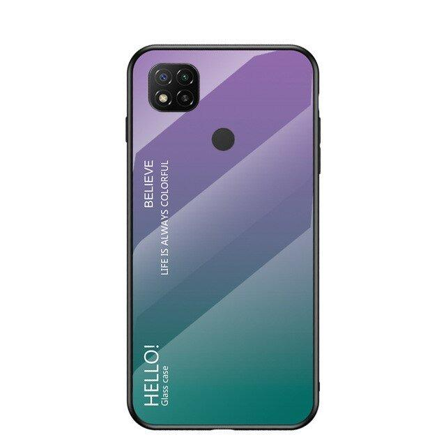 Gradient Glass Durable Cover with Tempered Glass Back Xiaomi Redmi 9C green-purple-nutielu.ee