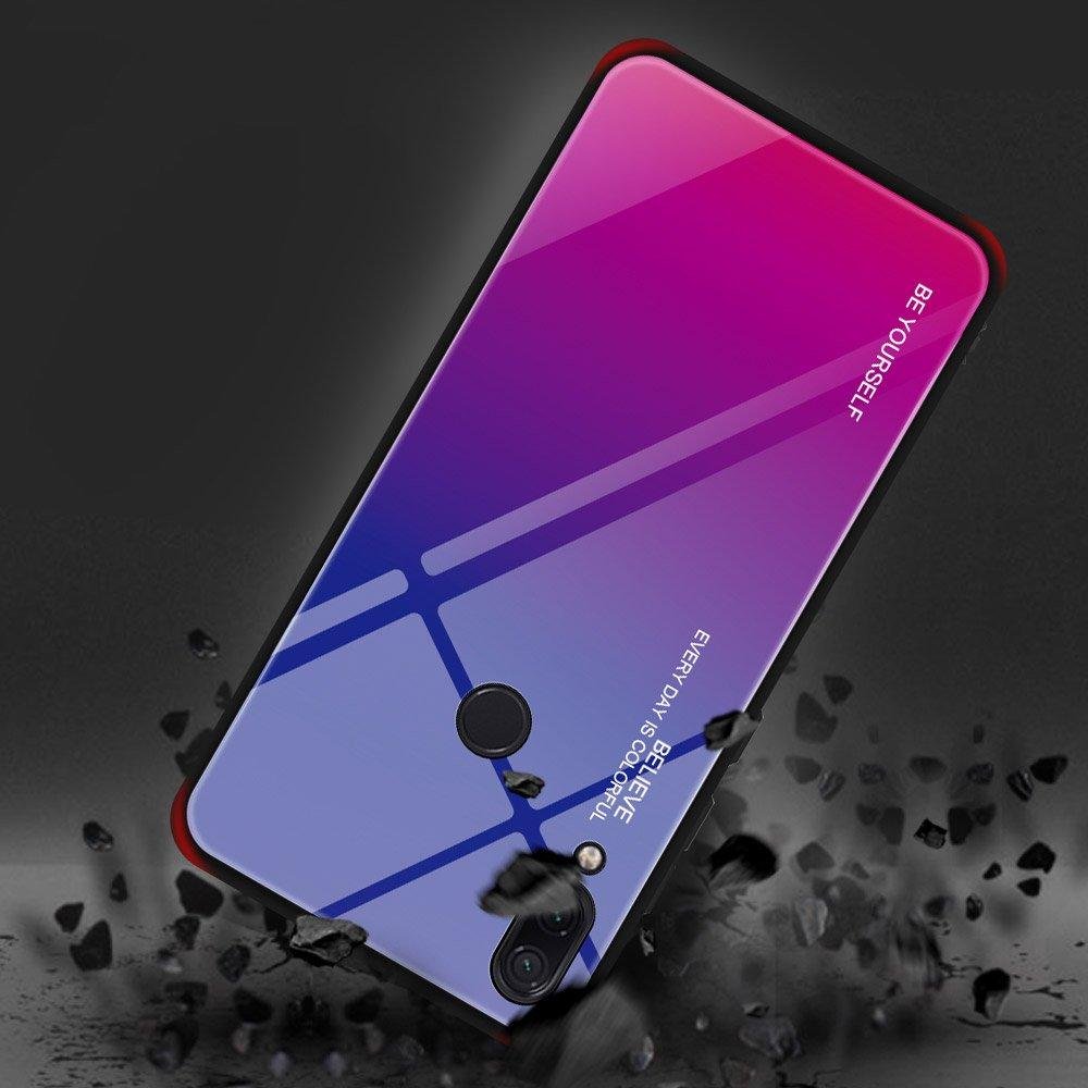 Gradient Glass Durable Cover with Tempered Glass Back Xiaomi Redmi Note 7 pink-purple-nutielu.ee
