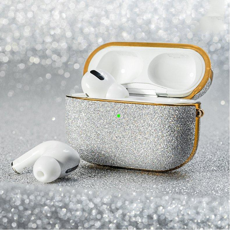 Kingxbar Bling shiny glitter case Protector for AirPods AirPods Pro silver-nutielu.ee
