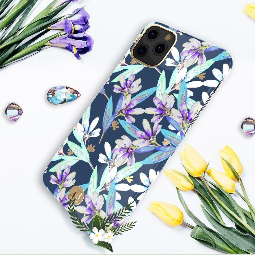 Kingxbar Blossom case decorated with original Swarovski crystals iPhone 11 Pro Max multicolour (Orchid)-nutielu.ee