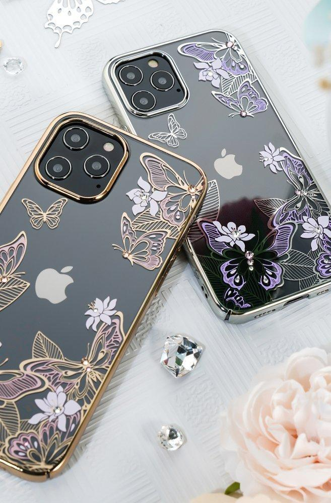 Kingxbar Butterfly Series shiny case decorated with original Swarovski crystals iPhone 12 mini golden-nutielu.ee