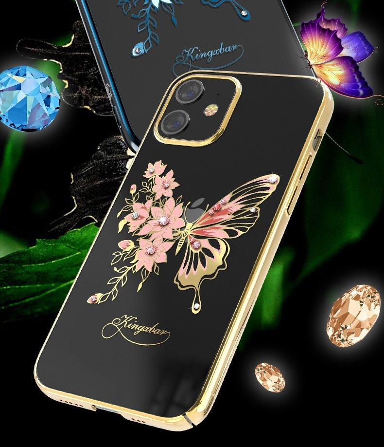 Kingxbar Butterfly Series shiny case decorated with original Swarovski crystals iPhone 12 Pro Max blue-nutielu.ee