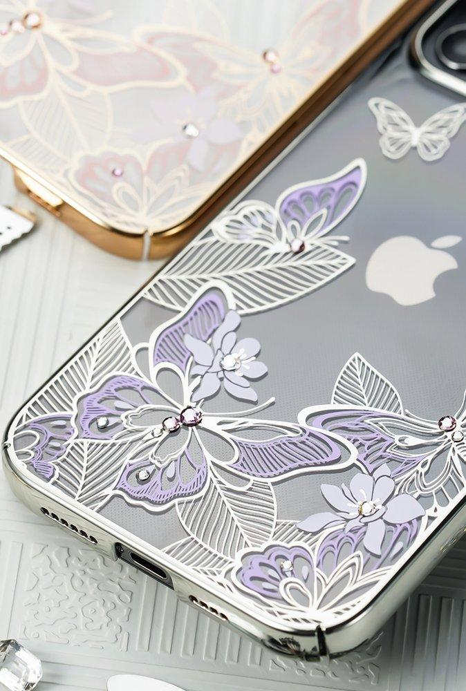 Kingxbar Butterfly Series shiny case decorated with original Swarovski crystals iPhone 12 Pro Max purple-nutielu.ee